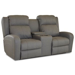 Casual Power Reclining Loveseat with Power Adjustable Headrest and Cupholder Storage Console