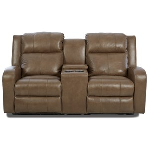 Casual Power Reclining Loveseat with Power Adjustable Headrest and Lumbar and Cupholder Storage Console