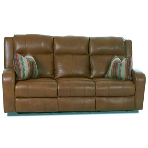 Reclining Leather Sofa with Pillows
