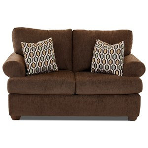 Casual Contemporary Loveseat with Rolled Arms