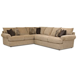 Casual Two Piece Sectional Sofa with LAF Corner Sofa