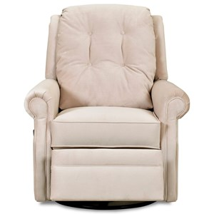 Transitional Swivel Gliding Reclining Chair with Button Tufting