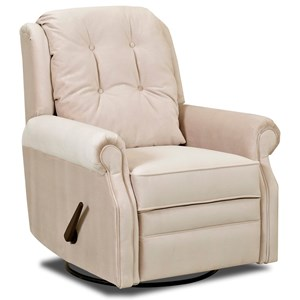 Transitional Manual Swivel Rocking Reclining Chair with Button Tufting