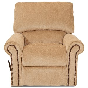 Rocking Reclining Chair with Rolled Arms and Nailheads