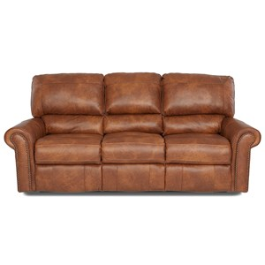Power Reclining Sofa with Rolled Arms and Nailheads