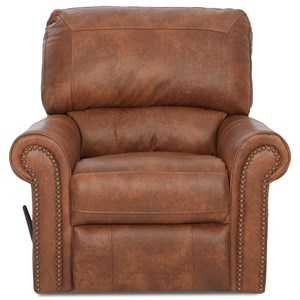 Swivel Glider Recliner with Rolled Arms and Nailheads