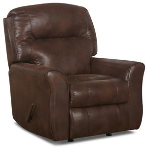 Klaussner Schwartz Reclining Rocking Chair in Bonded Leather