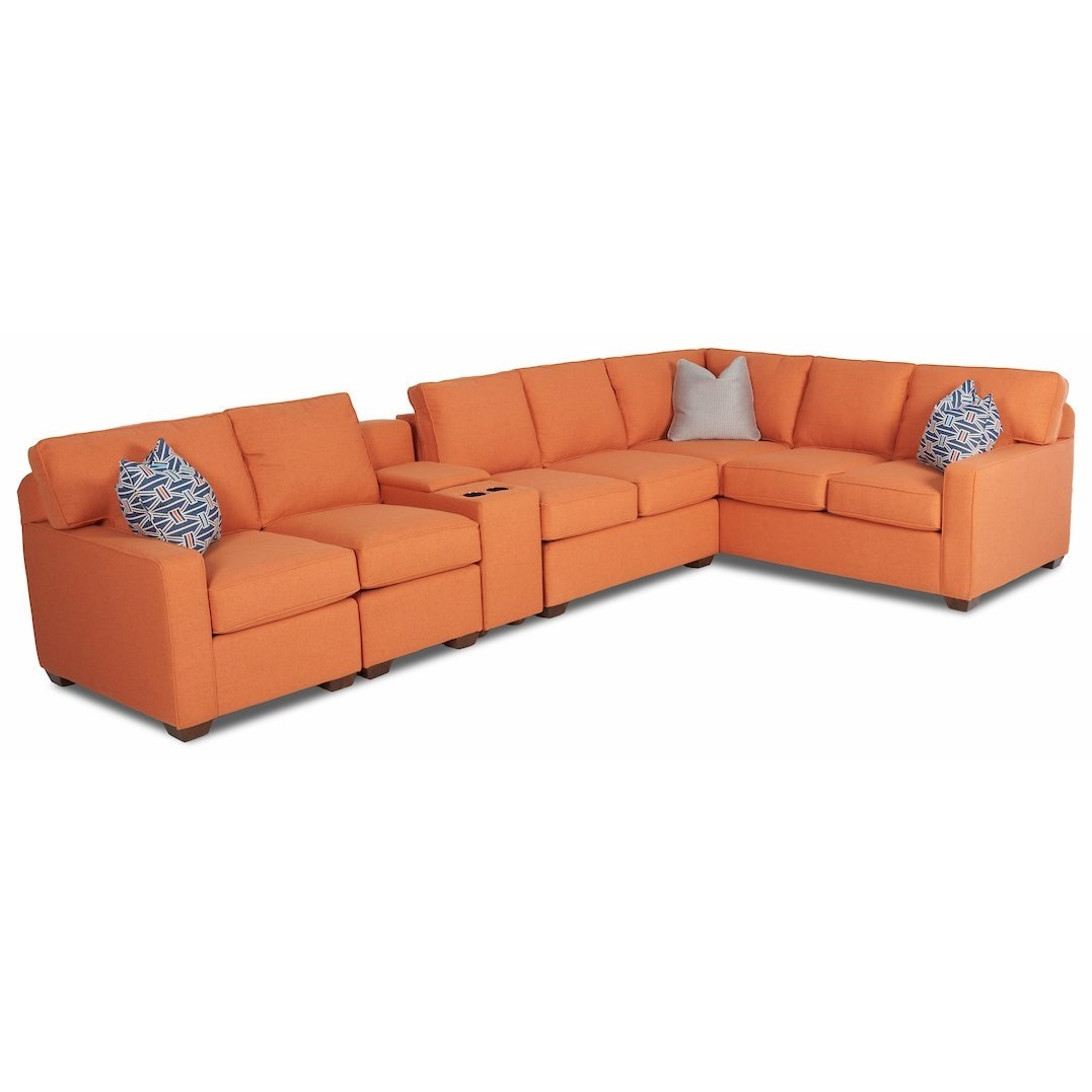 Selection 5-Pc Console Sectional w/ RAF Corner Sofa by Klaussner at Northeast Factory Direct