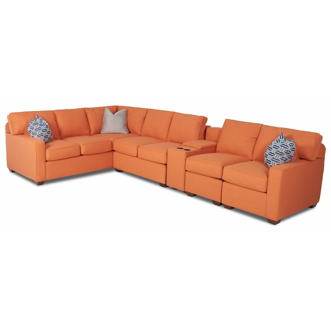 Selection 5-Pc Console Sectional w/ LAF Corner Sofa by Klaussner at Northeast Factory Direct