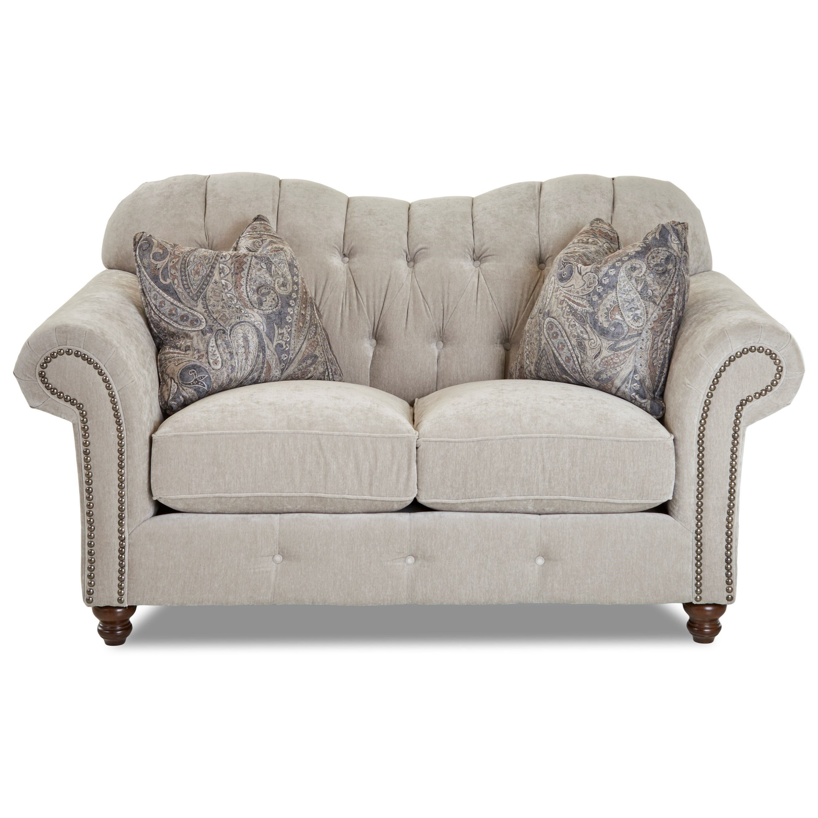 Shelby Loveseat w/ Nailheads by Klaussner at Johnny Janosik