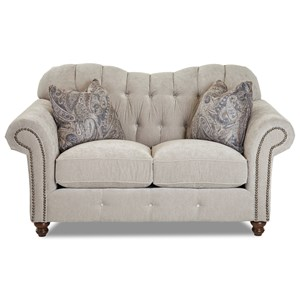 Traditional Sweetheart Back Loveseat with Button Tufting and Nailheads
