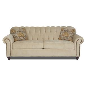 Traditional Stationary Sofa with Rolled Arms and Nailhead Trim