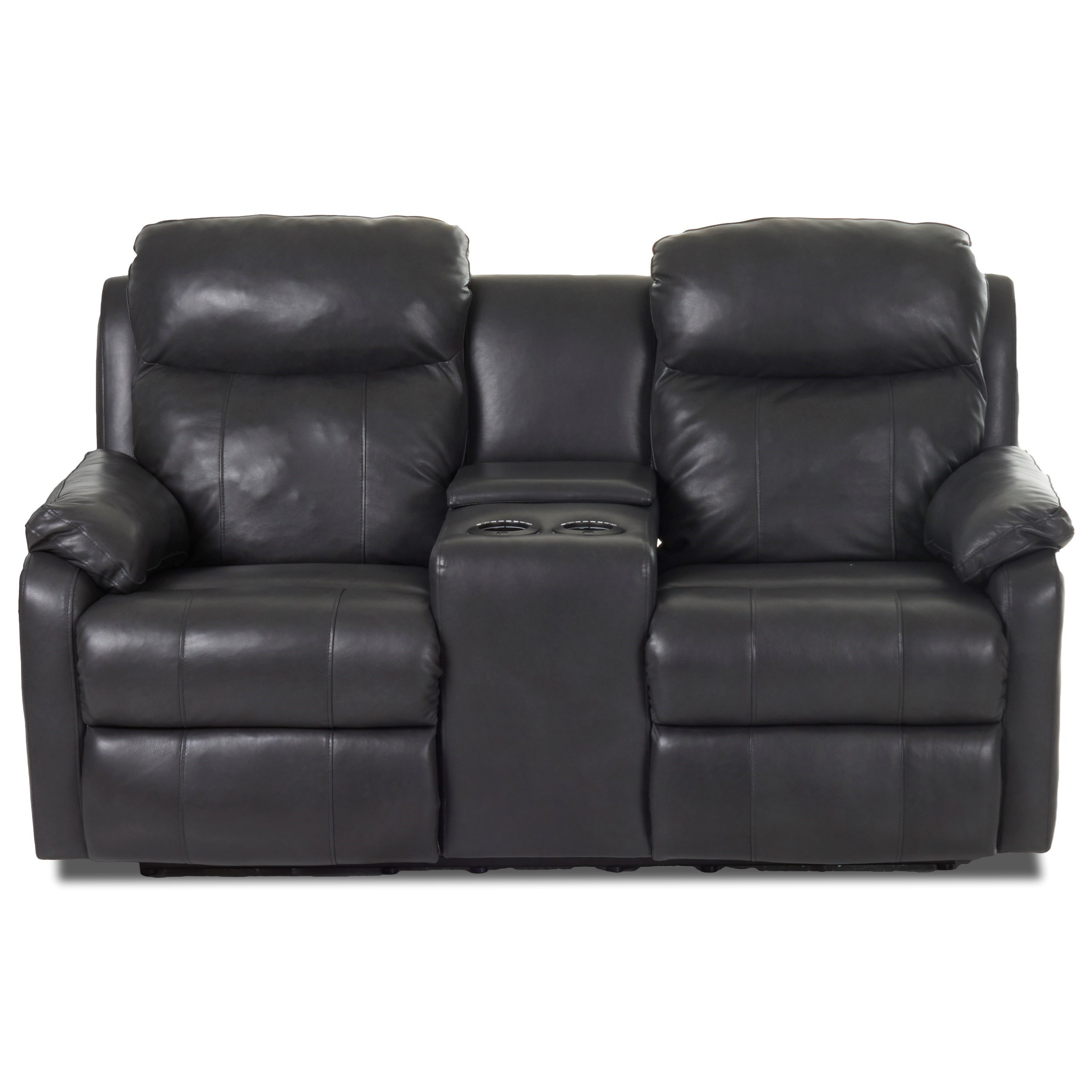Solitaire Power Reclining LS w/ Console & Pwr Head by Klaussner at Catalog Outlet