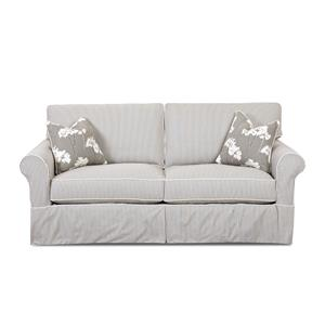 Traditional Sofa with Rolled Arms and Slip Cover