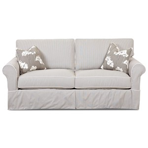 Traditional Sofa with Rolled Arms and Skirted Base