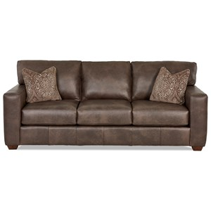 Contemporary Leather Sofa with Pillows