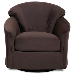 Upholstered Swivel Glide Chair with Low Profile Arms