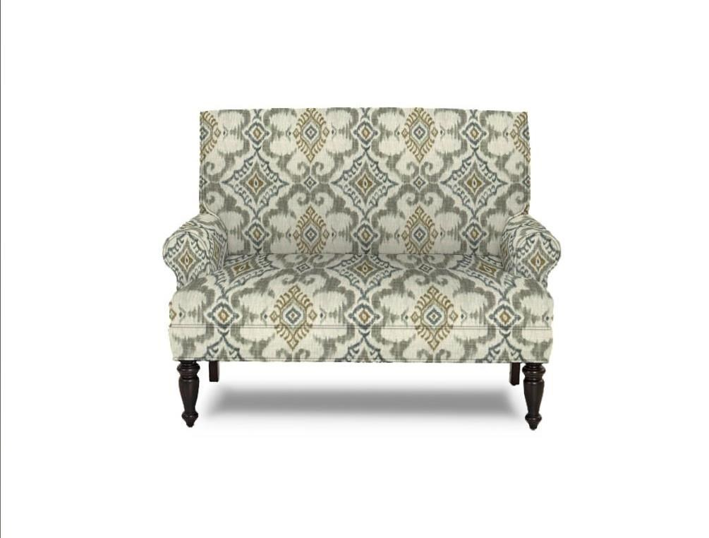Traditional Upholstered Love Seat  with Wood Legs