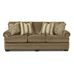 Traditional Sofa with Rolled Arms and Fringe Pillows