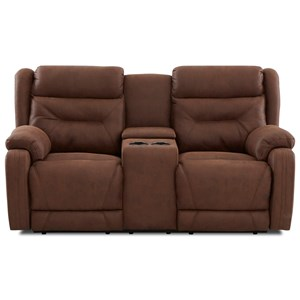 Casual Power Reclining Loveseat with Cupholder Storage Console and Power Headrests / Lumbar