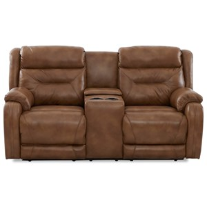 Casual Power Reclining Loveseat with Cupholder Storage Console and Power Headrests