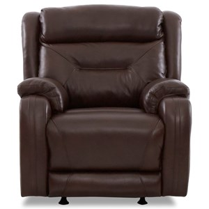 Casual Power Rocking Reclining Chair with Extra Long Legrest and Power Headrest / Lumbar