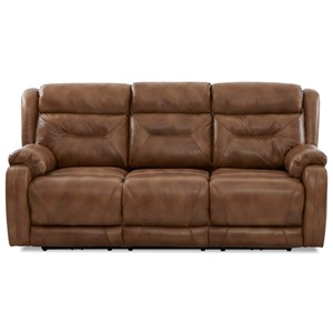 Casual Power Reclining Sofa with Extra Long Legrests and USB Charging Ports