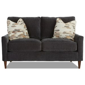 Contemporary Customizable Loveseat with Track Arms