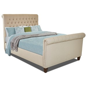 Maggie Queen Size Upholstered Bed with Tack Nailheads