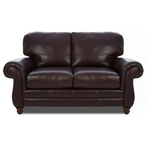 Leather Loveseat w/ Rolled Arms
