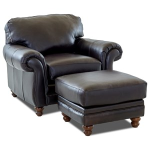 Traditional Chair  with Rolled Arms and Ottoman