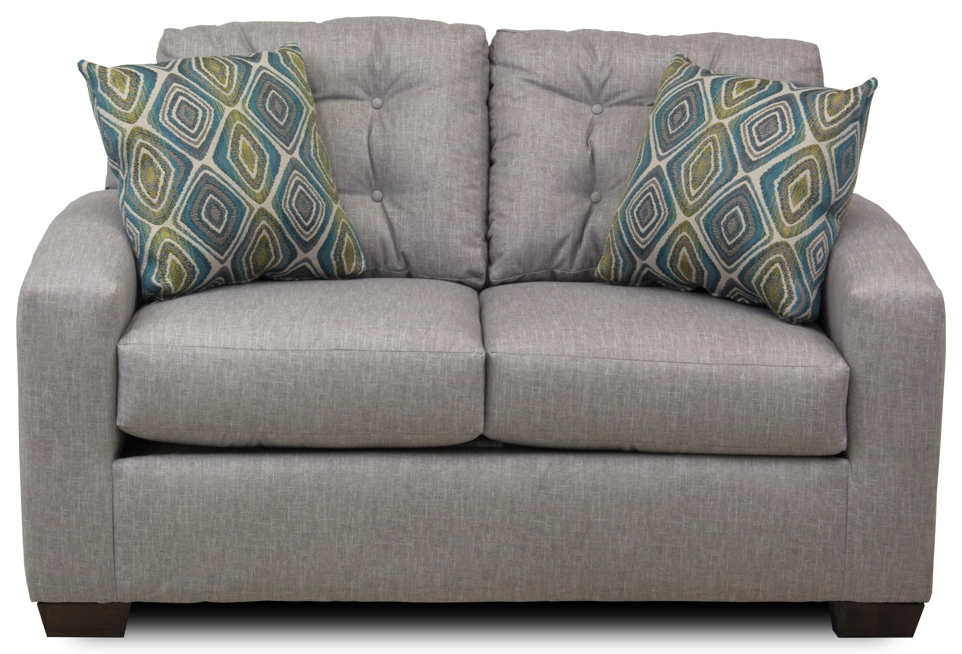 Contemporary Loveseat with Tufted Back Cushions