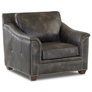 Leather Chair with Nailhead Studs and Outside Tufting