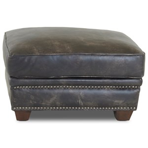Leather Ottoman with Nailhead Studs
