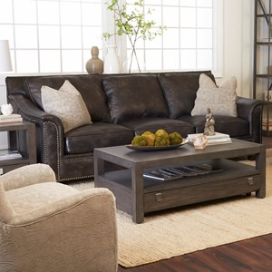 Leather Sofa with Nailhead Studs and Pillows