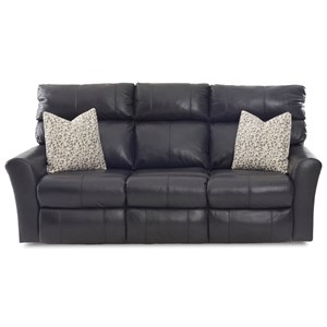 Casual Reclining Sofa (3 Recliners) with Toss Pillows