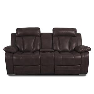 Casual Console Reclining Loveseat with Cupholders