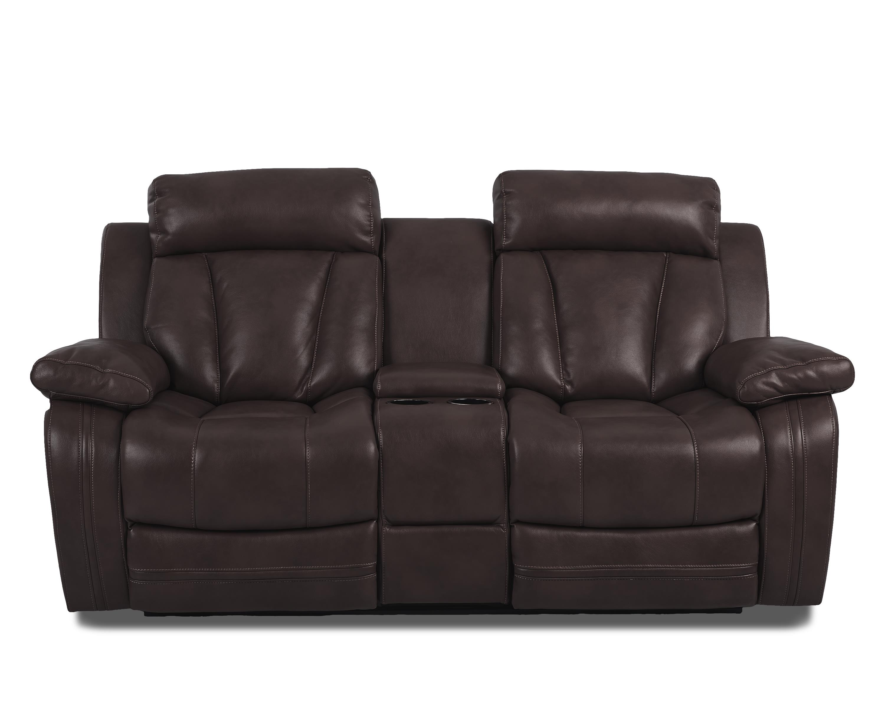 Atticus-US Power Console Reclining Loveseat by Klaussner International at Pilgrim Furniture City