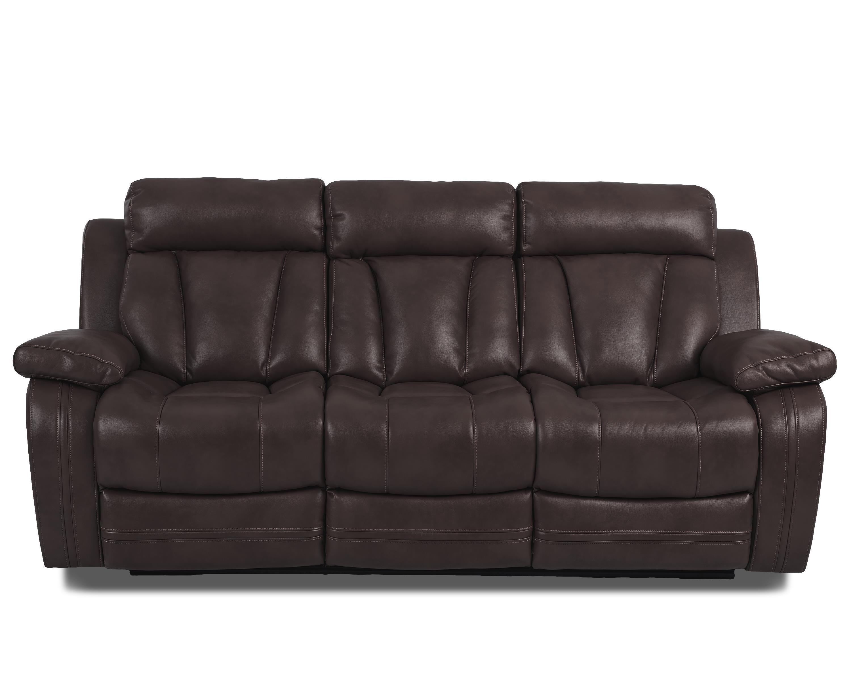 Atticus-US Reclining Sofa W/ Table by Klaussner International at Pilgrim Furniture City