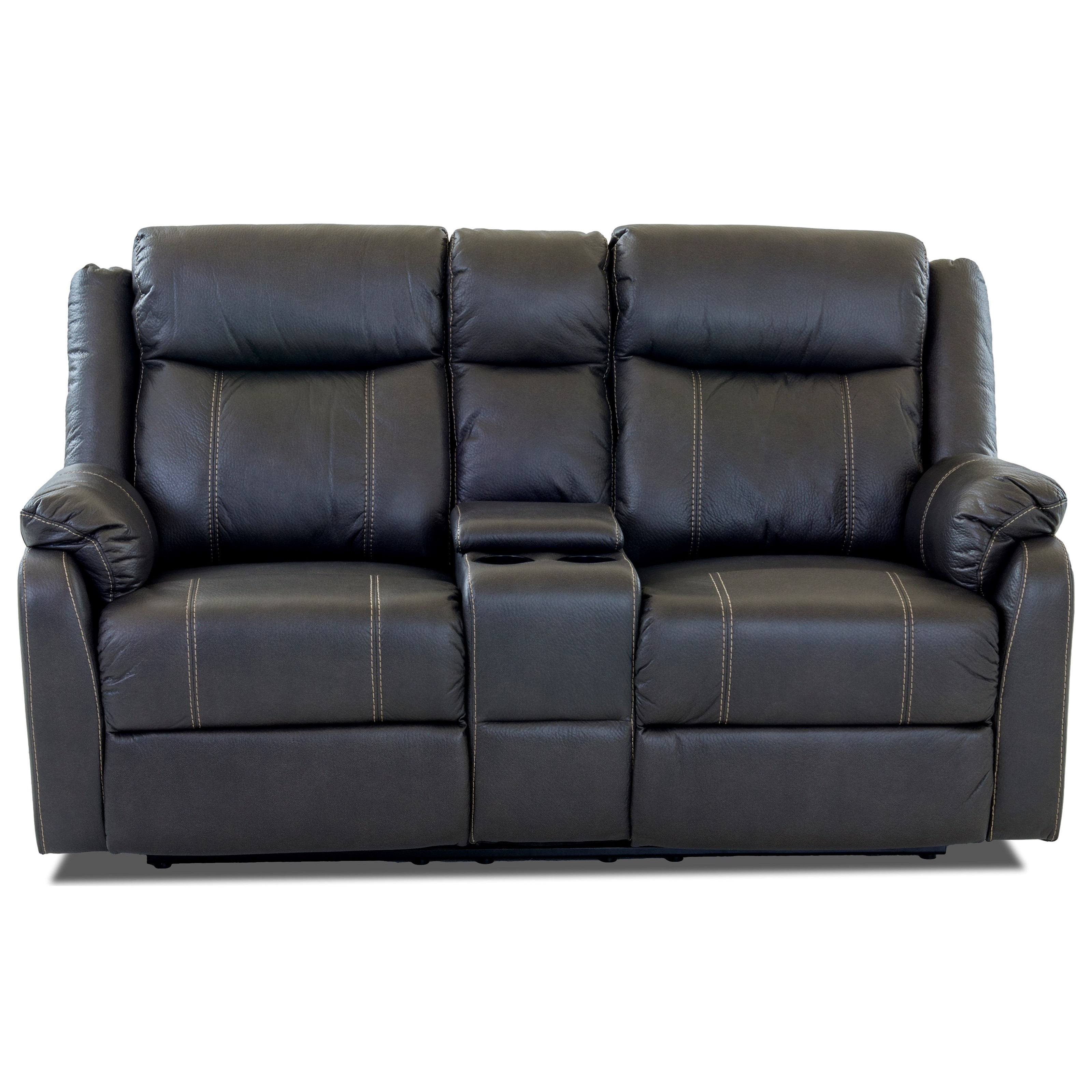 Domino-US Console Reclining Loveseat by Klaussner International at Catalog Outlet