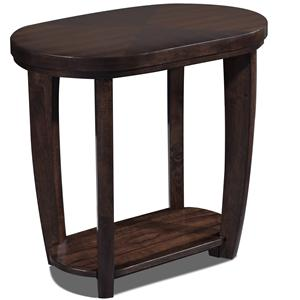 Oval Chairside Table With 1 Shelf