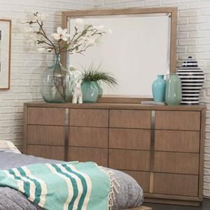 Contemporary Nine Drawer Dresser and Mirror Set