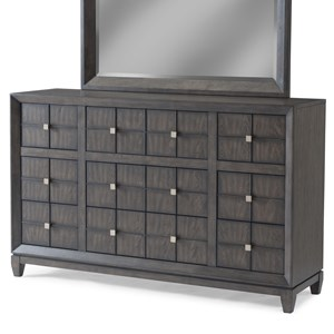 Transitional Nine Drawer Dresser with Rose Gold Hardware and Power Management Outlets