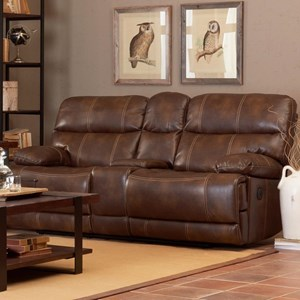 Casual Power Reclining Loveseat with Drink Storage Console