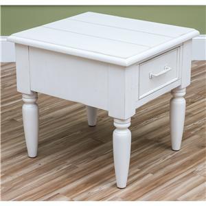 Beachcomber-White Rectangle End Table