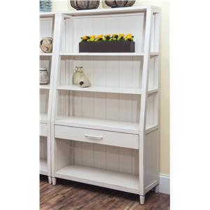 Splish Splash-White Bookcase with Shelving and Drawer
