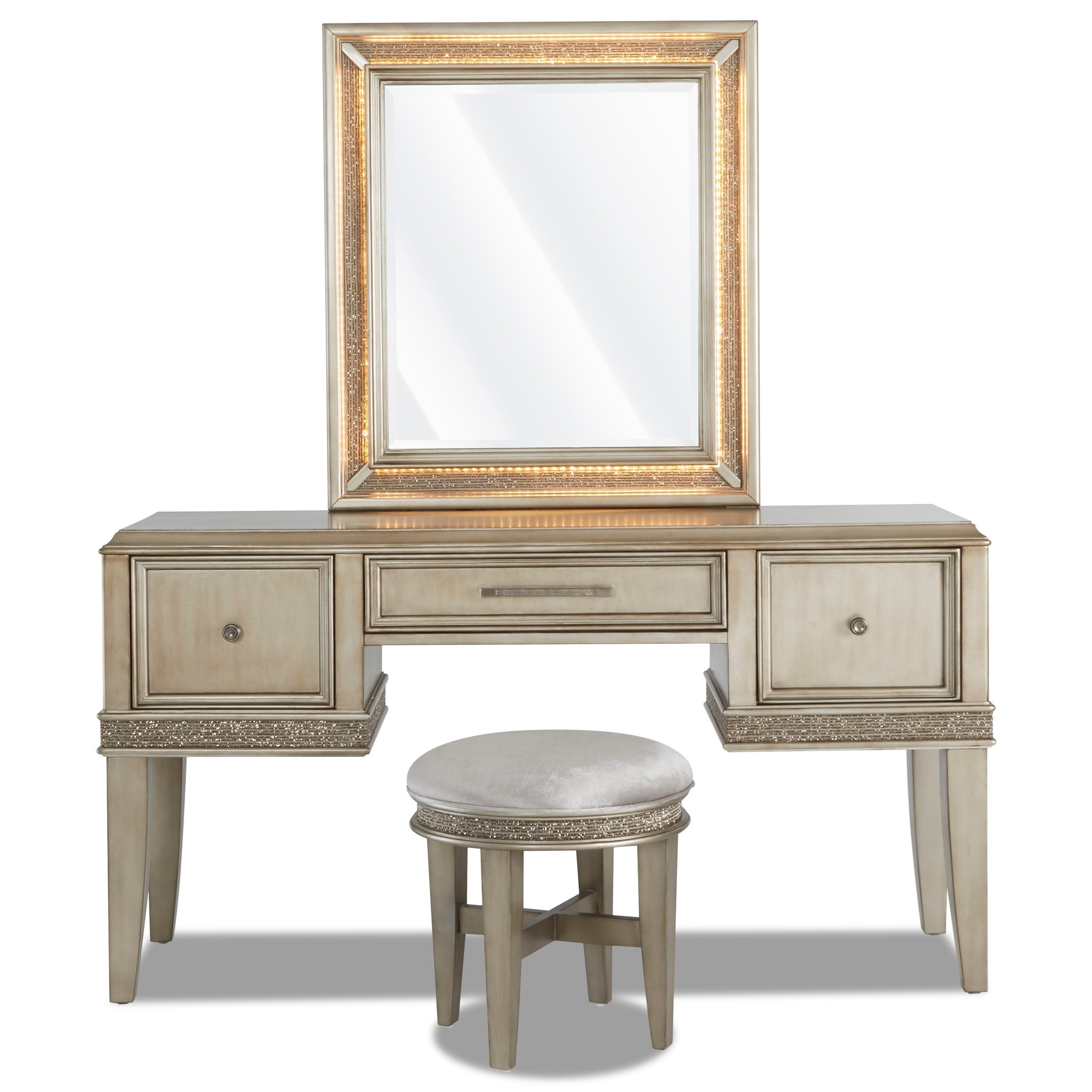 Sophia Vanity, Stool, and Mirror by Klaussner International at Beck's Furniture