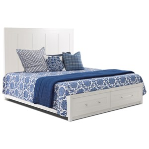 Transitional Queen Panel Bed  with Two Drawers