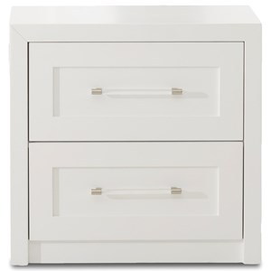 Transitional Two Drawer Night Stand with Acrylic Drawer Pulls