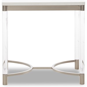 Transitional End Table with Acrylic Legs and Wood Top